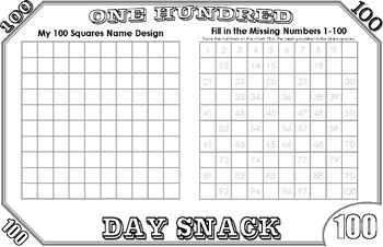 100th Day of School 100 Dollar Bill Snack Placemat
