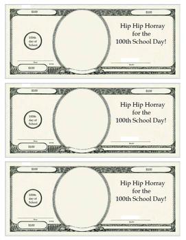 100th Day of School $100 Bills