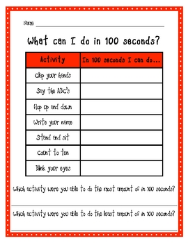 100th Day of School: 100 Seconds