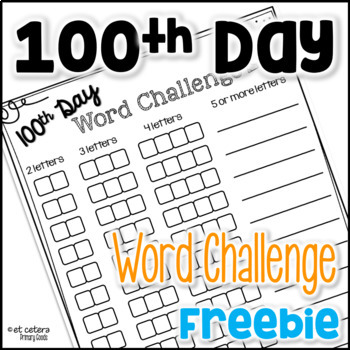 100th Day of School ~ 100 Words Activity