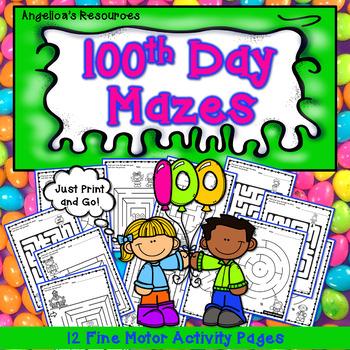 100th Day of School : 100th Day Mazes - Fine Motor Skills & Problem Solving