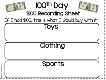 100th Day of School Math