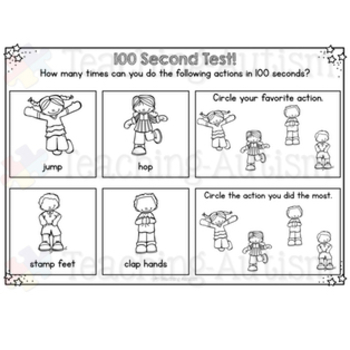 100th Day of School Work Book