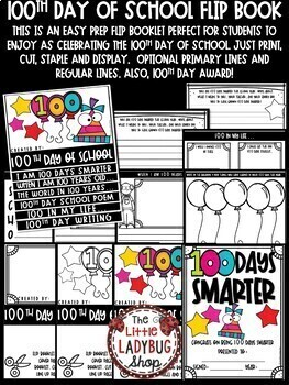 100th Day of School Activities & 100th Day of School Writing Flip Book