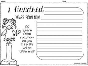 100th Day of School activities and printables for ELA, Math and writing