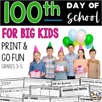 100th Day of School activities & printables for ELA Math and Writing