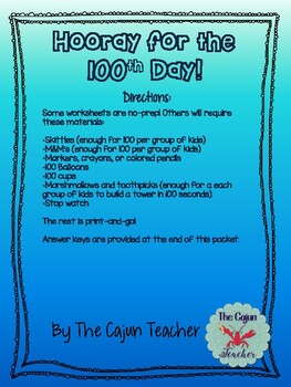 100th Day of School 3rd Grade Activity Packet