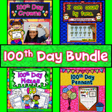 100th Day of School Activities Bundle : Literacy, Math, Crowns, and Pennants