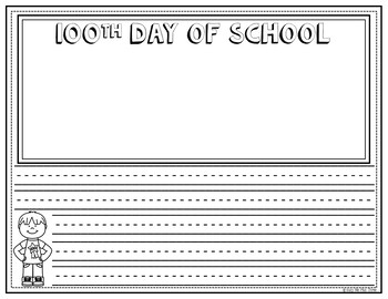 100th Day of School Activities Color by Number & Writing Pages FREEBIE