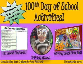 100th Day of School Activities! Glasses, Place Mat, 100 Se
