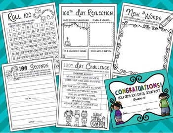 100th Day of School Activities, Poem, and Printables