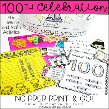 100th Day of School NO PREP Activities-100th Day Math-100 days of school