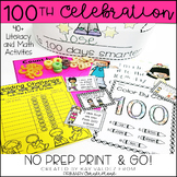 100th Day of School NO PREP Activities-100th Day Math-100