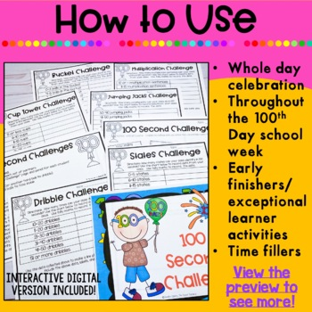 100th Day of School: Activities for Upper Elementary