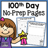 100th Day of School No Prep Pages