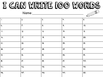 100th Day of School Activity - I can write 100 words