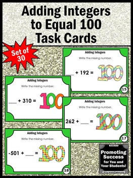 Adding Integers Task Cards, 100th Day of School Math Games, Integer Activities