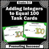 Adding Integers Task Cards, 100th Day of School Math Activities