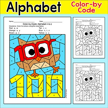 100th Day of School Alphabet Color by Code Owl