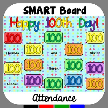 100th Day of School SMART Board Attendance
