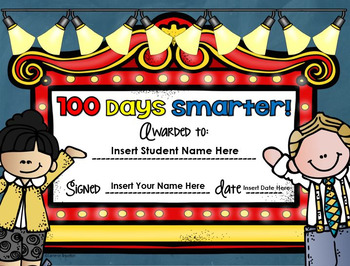 100th Day of School Award Editable