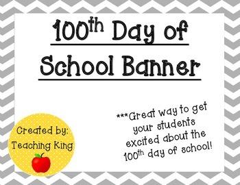 100th Day of School Banner Pennant Gray Chevron