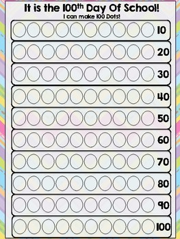 100th Day of School Bingo Dotter Worksheet