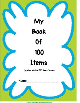 """100th Day of School Book """"My Book of 100 Items"""""""