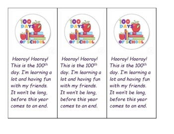 100th Day of School Bookmark and Poem