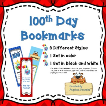 100th Day of School Bookmarks
