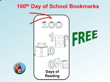 FREE 100th Day of School Bookmarks (To Color)