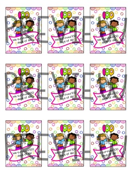 100th Day of School Brag Tags **Color and Black and White Versions**