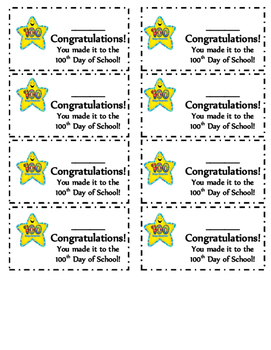100th Day of School Cards