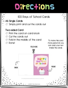 100th Day of School Cards for Students Blue Cards | TeKa Kinderland