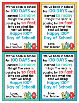 100th Day of School Cards for Students - Editable in color & black and white!