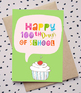 100th Day of School Cards for Students Green Cards | TeKa Kinderland