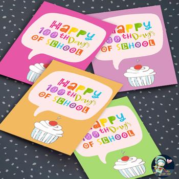 100th Day of School Cards for Students Orange Cards | TeKa Kinderland