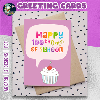 100th Day of School Cards for Students Purple Cards | TeKa Kinderland