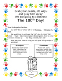 100th Day of School Celebration Letter Home Kindergarten