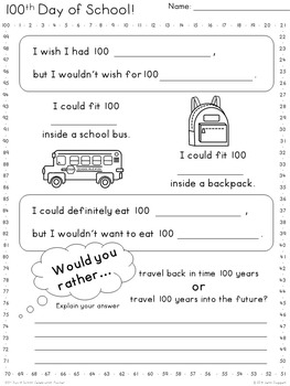100th Day of School Celebration Packet {Upper Grades} Four-eyes Freebie!