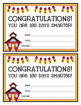 100th Day of School Certificate