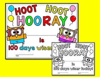 100th Day of School Certificates - Owl Theme