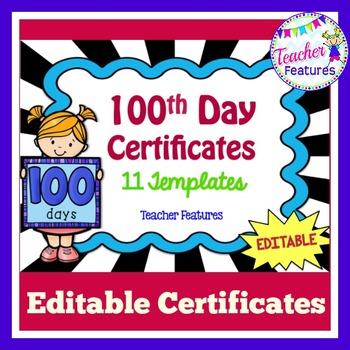 100th Day Editable Award Certificates