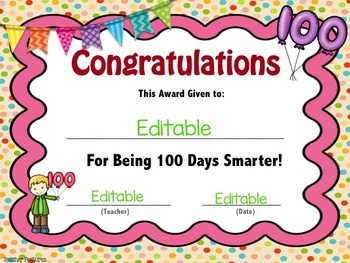 100th Day of School Editable Award Certificates FREEBIE