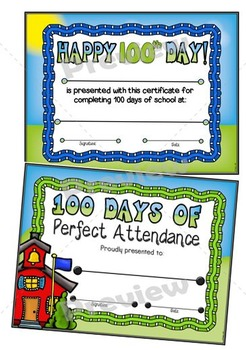100th Day of School Certificates Set ~ Editable
