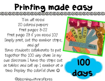 100th Day of School Chain Link