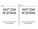100th Day of School Challenge Book