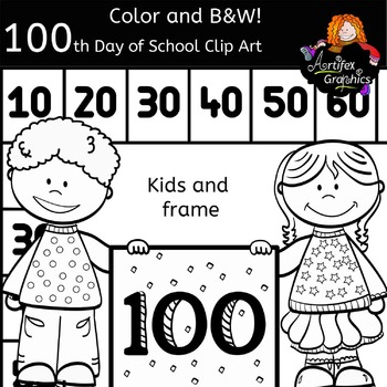 100th Day of School Clip Art-Color and B&W. FREE!