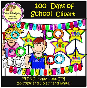 100th Day of School Clip Art (School Design)