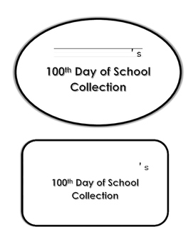 100th Day of School Collection Sheet